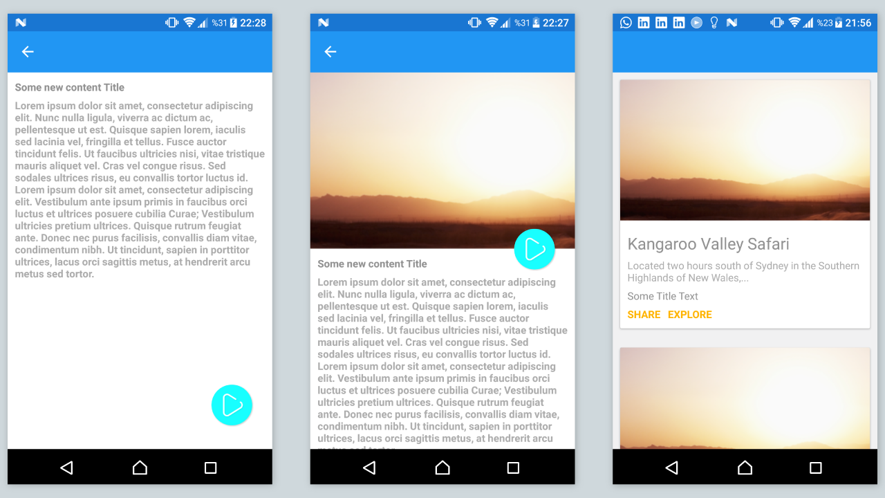 Xamarin Forms Material Cards and Animated Detail Page