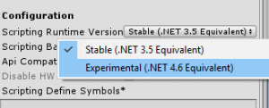 Unity 3D Build Settings scripting runtime version using latest .Net Framework C# Enis Necipoglu