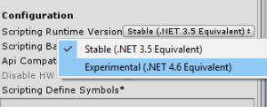 Unity 3D Build Settings scripting runtime version using latest .Net Framework C# Enis Necipoglu